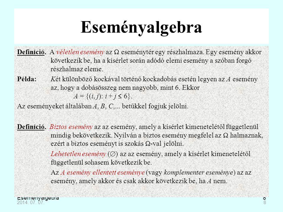 Eseményalgebra19 Összefüggések események között A+A=AA·A=A A+B=B+AA·B=B·A (A+B)+C= A+(B+C)(A·B)·C=A·(B·C) A+(B·C)=(A+B)·(A+C)A·(B+C)=(A·B)+(A·C) A+A=ΩA·A=0 A+0=AA·Ω=A A+ Ω= ΩA·0=0