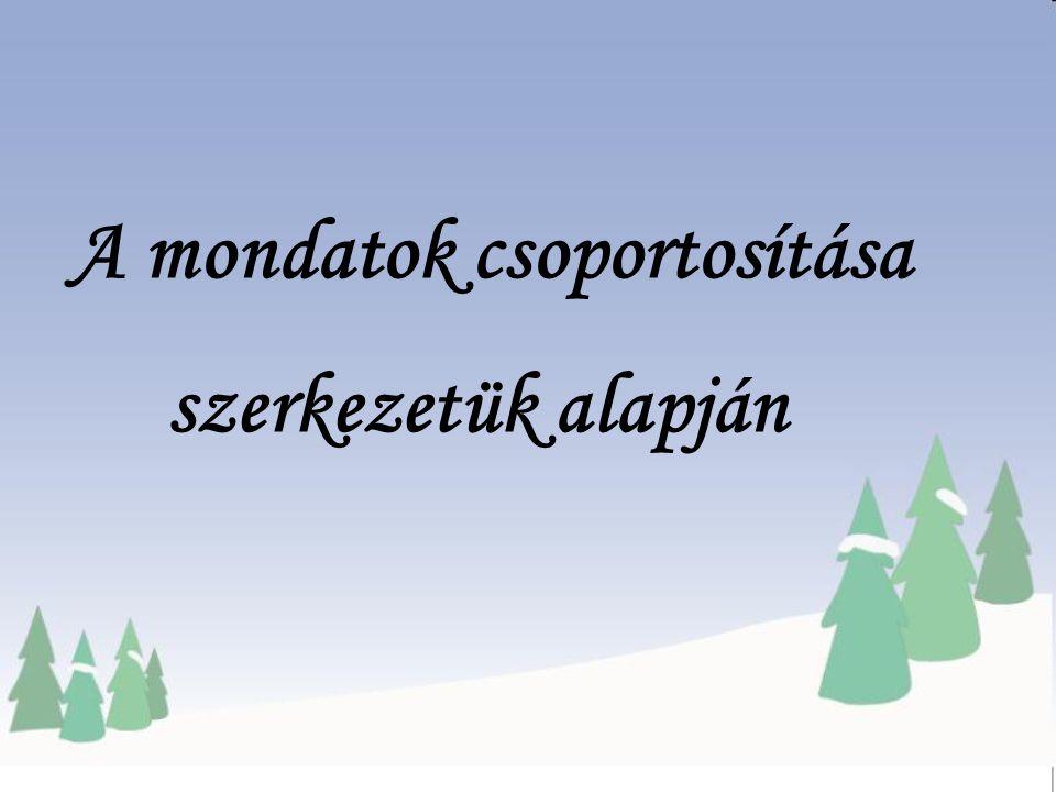 Egyszerű mondat M ellérendelő összetett mondat A lárendelő összetett mondat Mondat Összetett mondat