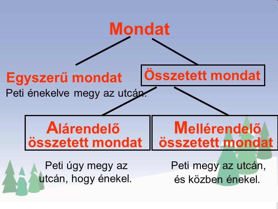 A lárendelő összetett mondat Mondat Összetett mondat Egyszerű mondat M ellérendelő összetett mondat Peti énekelve megy az utcán.