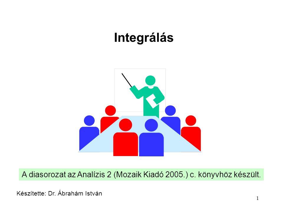 1 Integrálás Készítette: Dr. Ábrahám István A diasorozat az Analízis 2 (Mozaik Kiadó 2005.) c. könyvhöz készült.