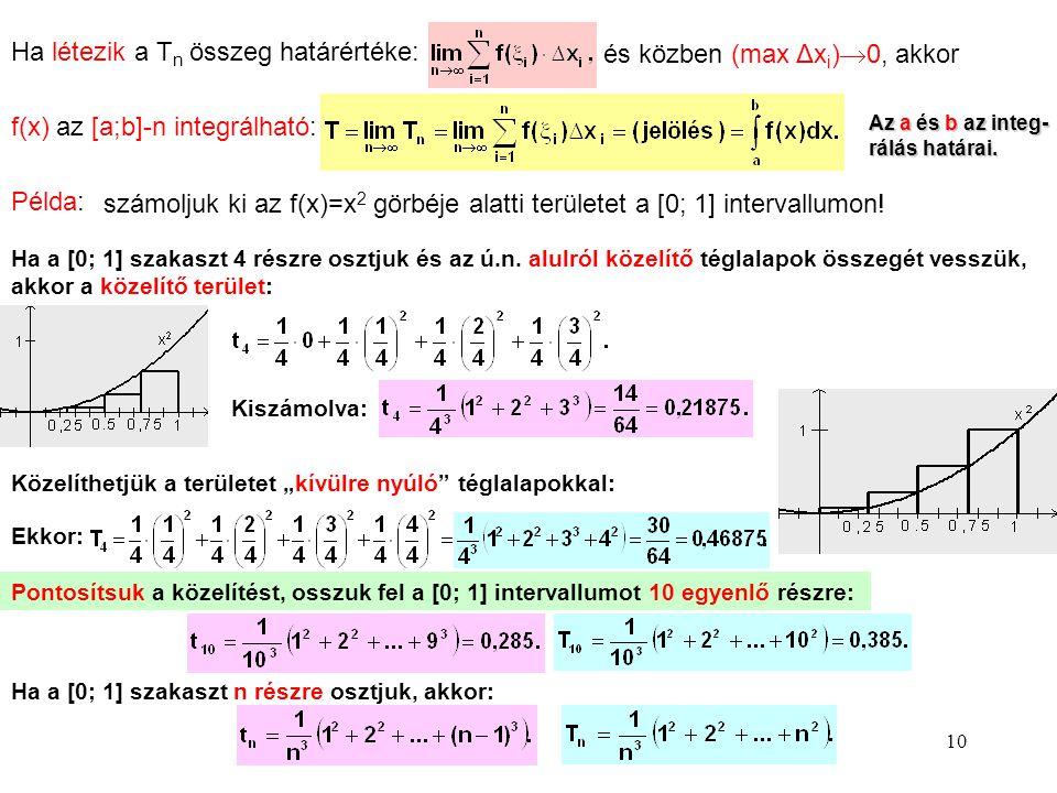 10 Ha létezik a Tn Tn összeg határértéke: és közben (max Δx i )  0, akkor f(x) az [a;b]-n integrálható:Az a és b az integ- rálás határai. Példa: szám