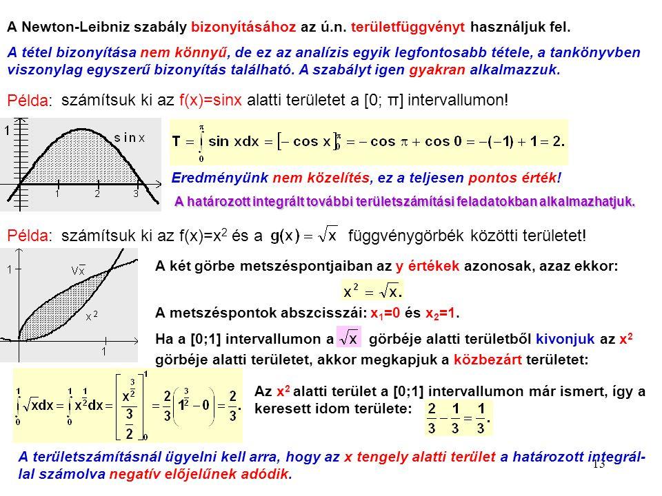 13 A Newton-Leibniz szabály bizonyításához az ú.n. területfüggvényt használjuk fel. A tétel bizonyítása nem könnyű, de ez az analízis egyik legfontosa