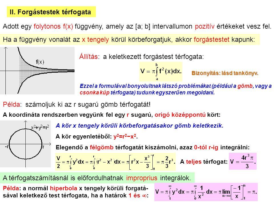 17 II. Forgástestek térfogata Adott egy folytonos f(x) függvény, amely az [a; b] intervallumon pozitív értékeket vesz fel. Ha a függvény vonalát az x