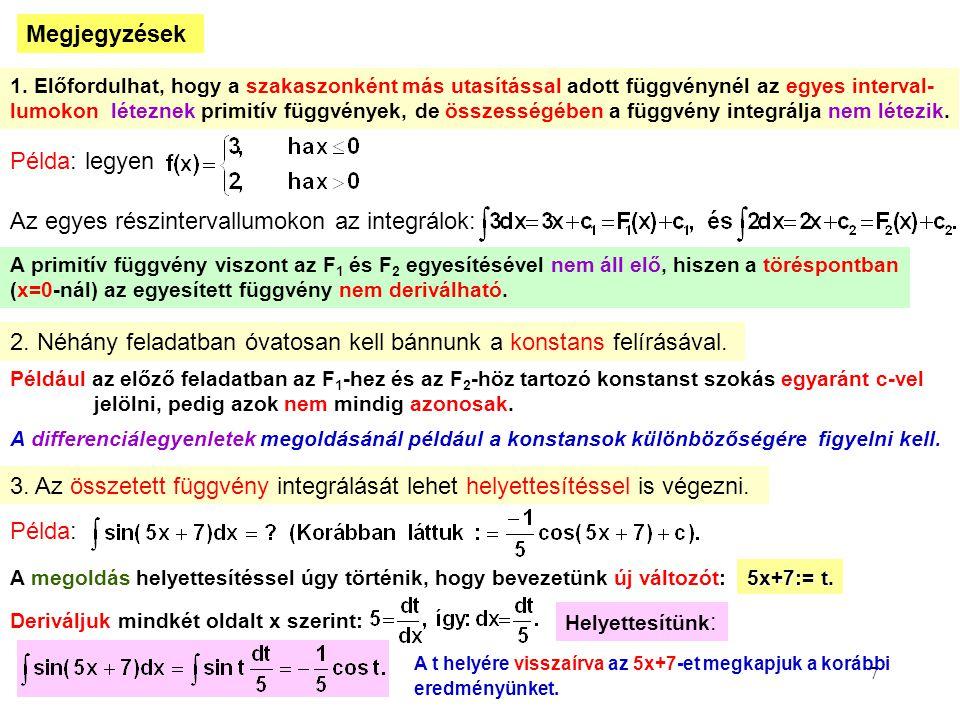 7 Megjegyzések 1. Előfordulhat, hogy a szakaszonként más utasítással adott függvénynél az egyes interval- lumokon léteznek primitív függvények, de öss