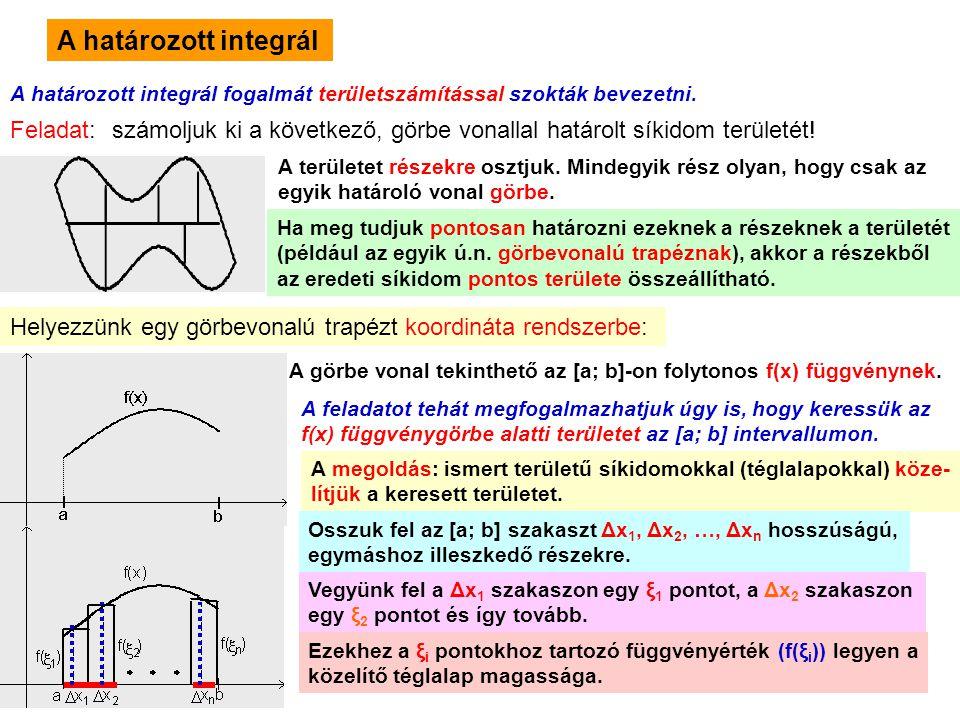 8 A határozott integrál A határozott integrál fogalmát területszámítással szokták bevezetni. Feladat: számoljuk ki a következő, görbe vonallal határol