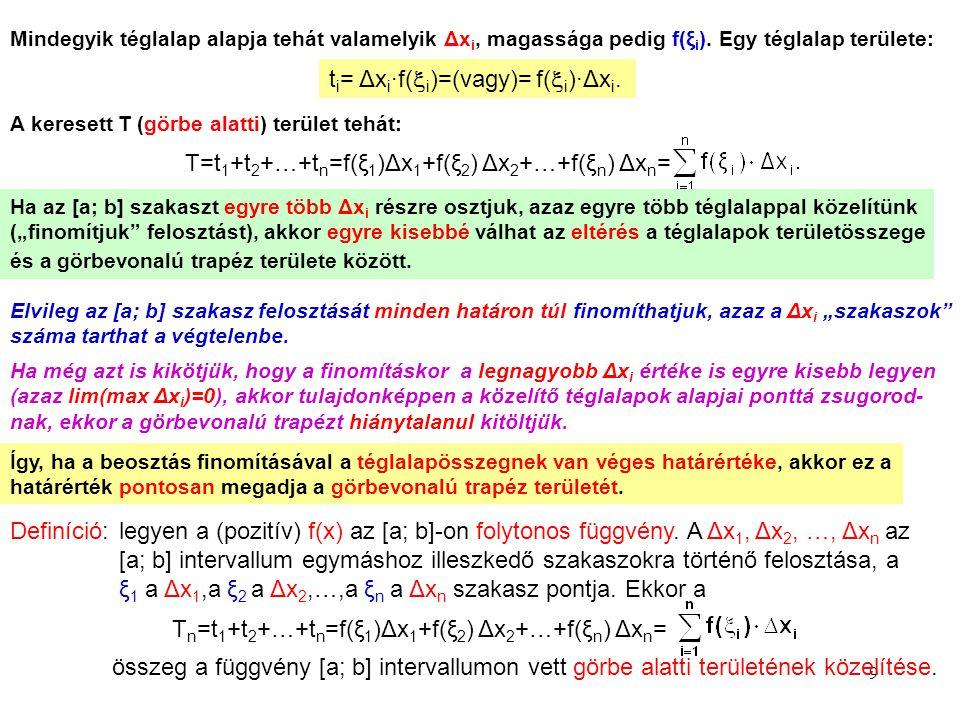 9 Mindegyik téglalap alapja tehát valamelyik Δx i, magassága pedig f(ξ i ). Egy téglalap területe: t i = Δx i ∙f(  i )=(vagy)= f(  i )∙Δx i. A keres