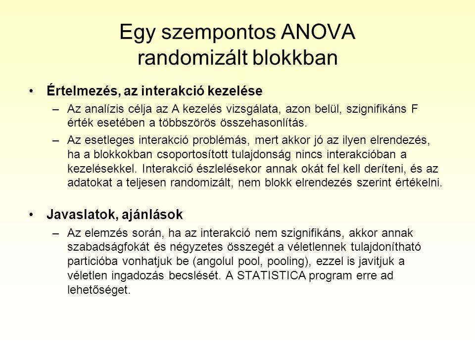 Egy szempontos ANOVA randomizált blokkban Értelmezés, az interakció kezelése –Az analízis célja az A kezelés vizsgálata, azon belül, szignifikáns F ér