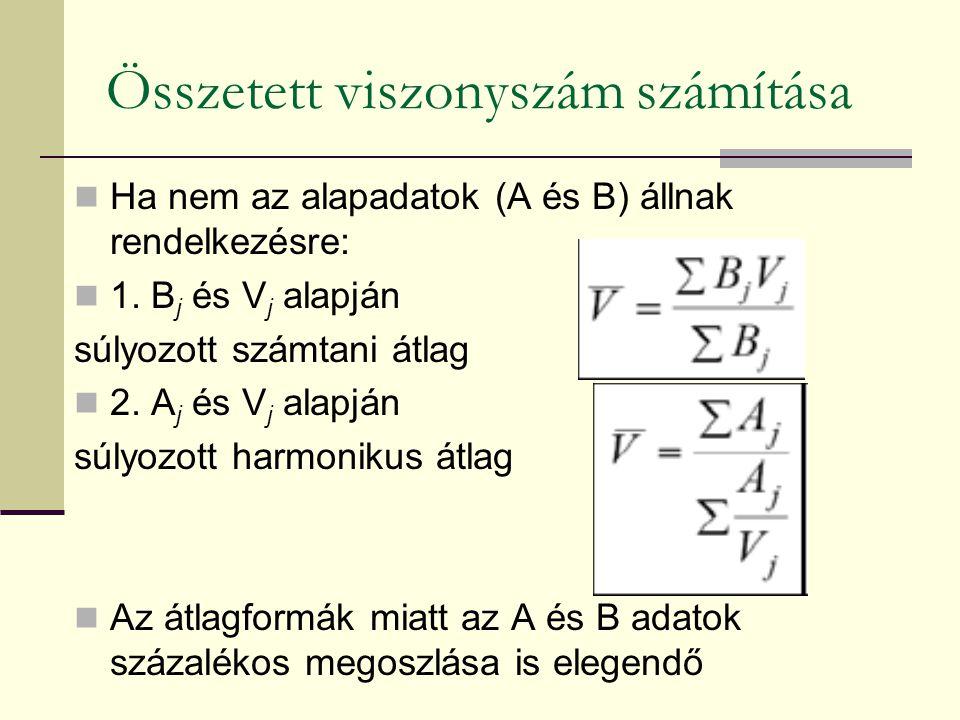 Összetett viszonyszám számítása Ha nem az alapadatok (A és B) állnak rendelkezésre: 1. B j és V j alapján súlyozott számtani átlag 2. A j és V j alapj