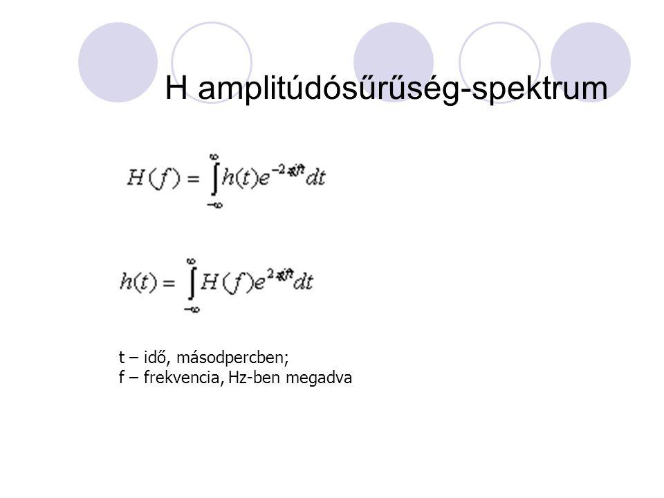 t – idő, másodpercben; f – frekvencia, Hz-ben megadva H amplitúdósűrűség-spektrum