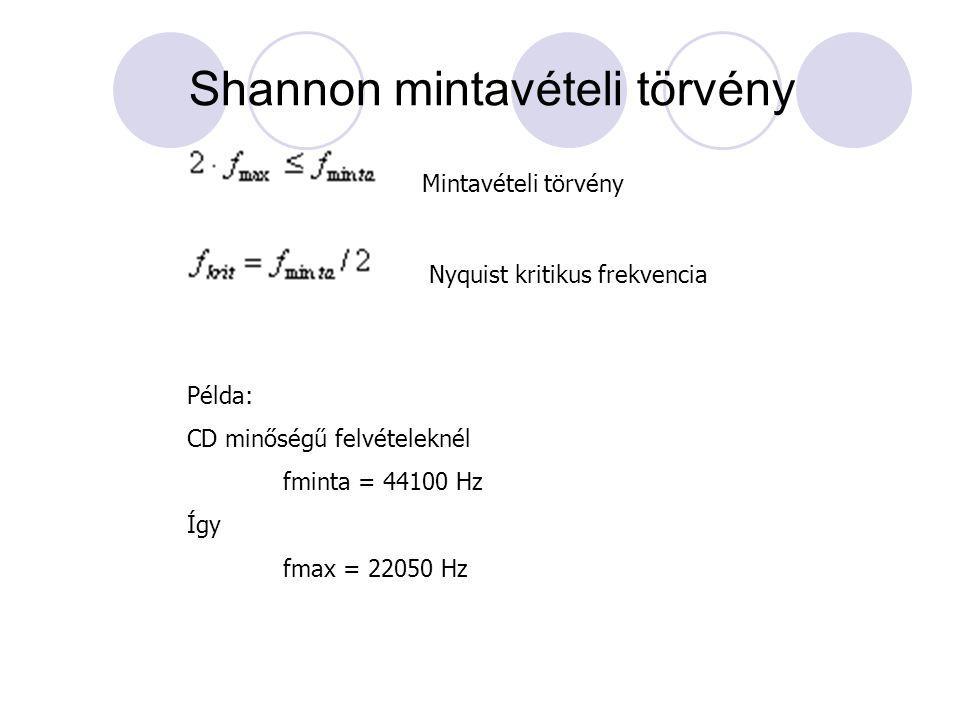 Shannon mintavételi törvény Nyquist kritikus frekvencia Mintavételi törvény Példa: CD minőségű felvételeknél fminta = 44100 Hz Így fmax = 22050 Hz