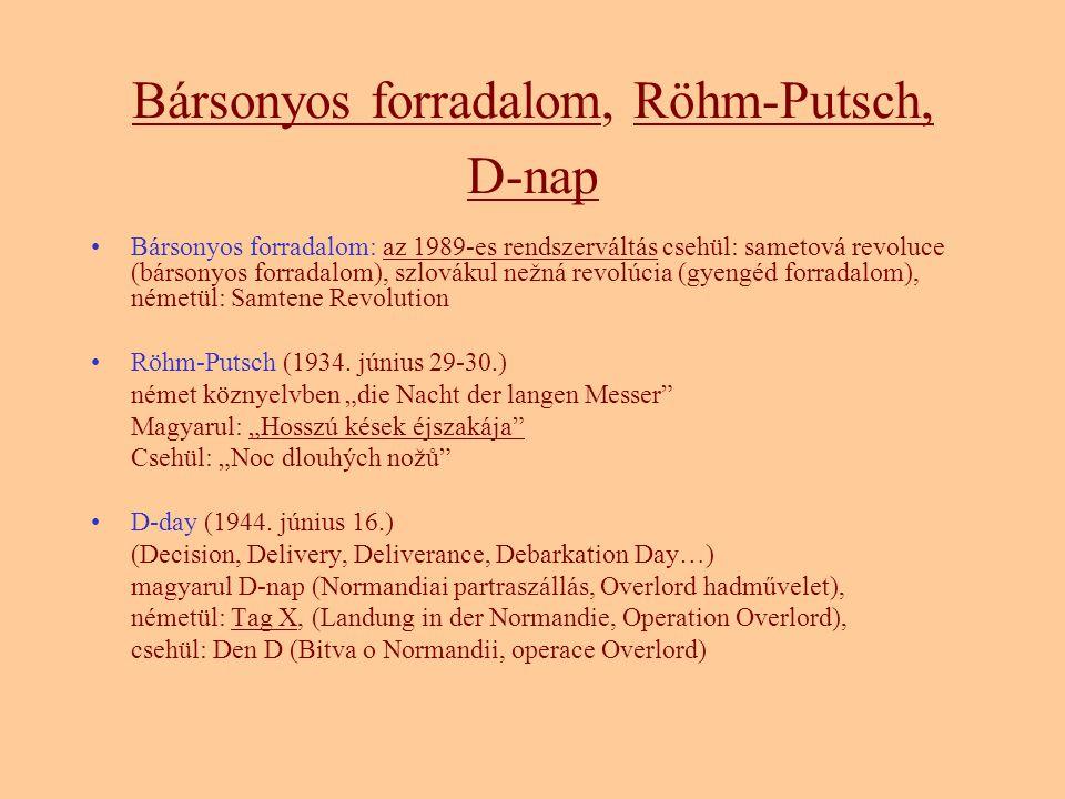 Bársonyos forradalom, Röhm-Putsch, D-nap Bársonyos forradalom: az 1989-es rendszerváltás csehül: sametová revoluce (bársonyos forradalom), szlovákul nežná revolúcia (gyengéd forradalom), németül: Samtene Revolution Röhm-Putsch (1934.