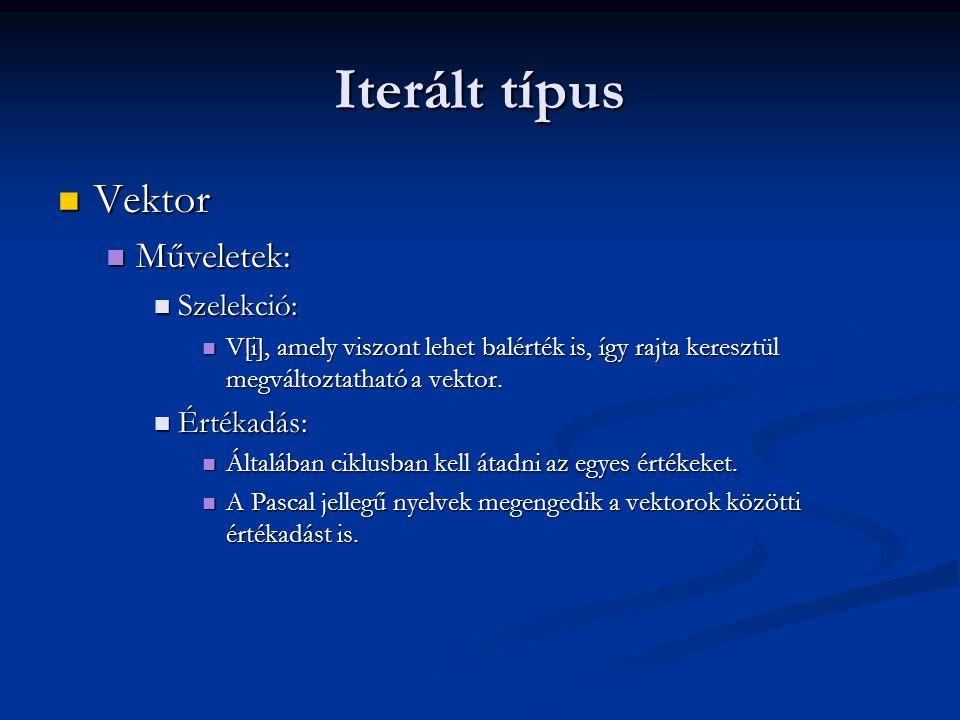 Iterált típus Vektor Vektor Műveletek: Műveletek: Szelekció: Szelekció: V[i], amely viszont lehet balérték is, így rajta keresztül megváltoztatható a