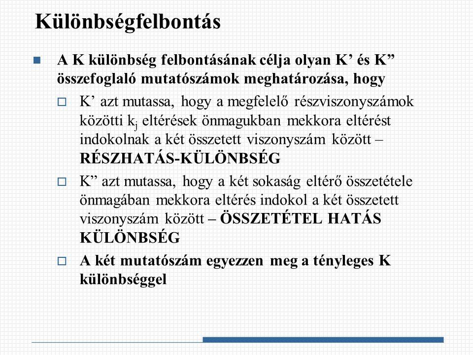 """Különbségfelbontás A K különbség felbontásának célja olyan K' és K"""" összefoglaló mutatószámok meghatározása, hogy  K' azt mutassa, hogy a megfelelő r"""