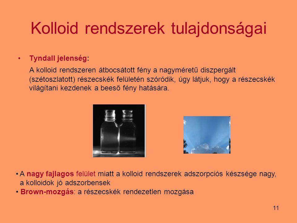 11 Kolloid rendszerek tulajdonságai Tyndall jelenség: A kolloid rendszeren átbocsátott fény a nagyméretű diszpergált (szétoszlatott) részecskék felüle