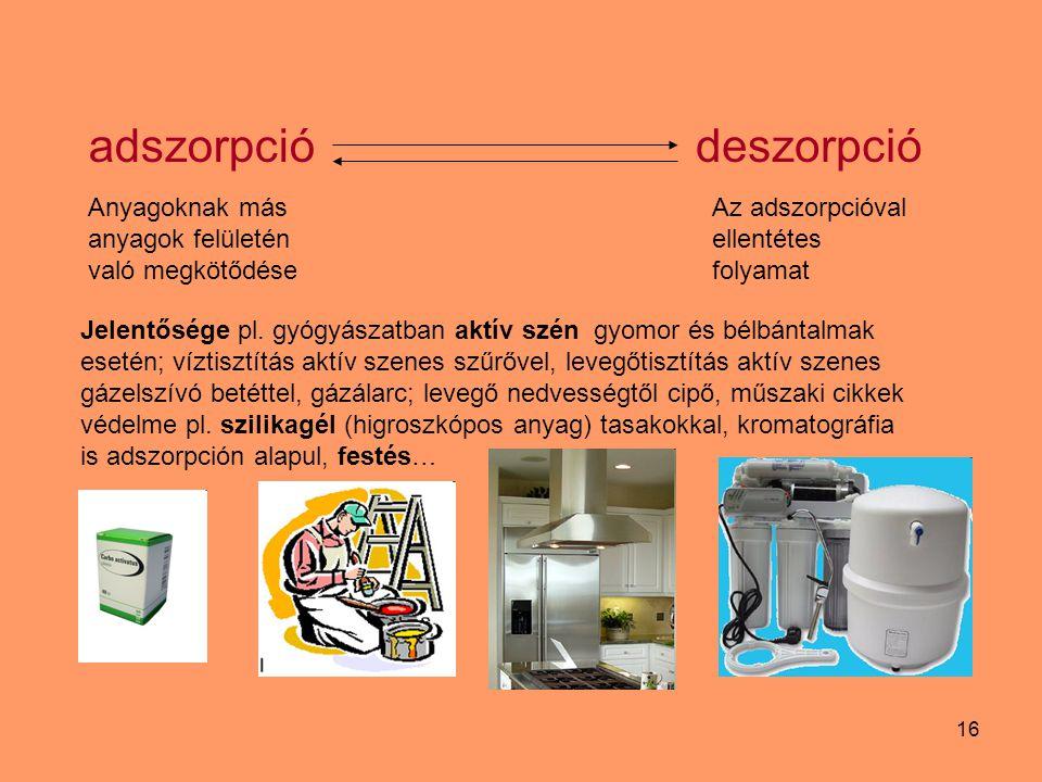 16 Anyagoknak más anyagok felületén való megkötődése adszorpciódeszorpció Az adszorpcióval ellentétes folyamat Jelentősége pl. gyógyászatban aktív szé