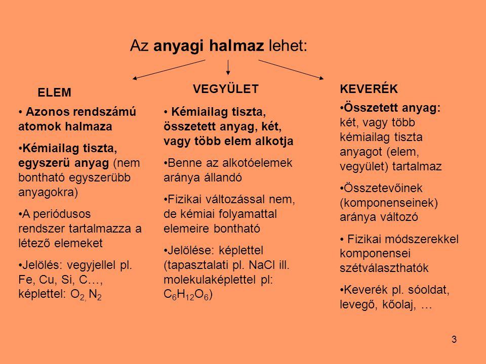 4 Keverékek szétválasztásának módszerei pl.