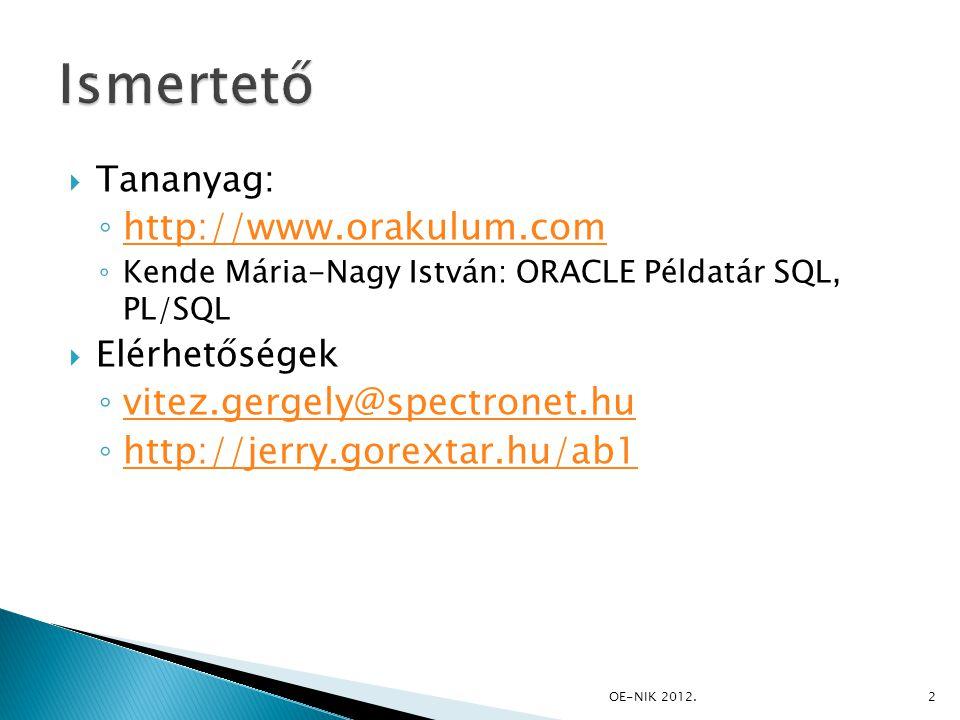  Strukturált Lekérdező Nyelv ◦ Először az Oracle használta  Adattípusai ◦ Numerikus ◦ Alfanumerikus ◦ Dátum ◦ Egyéb típusok (pl: blob, clob) 13OE-NIK 2012.