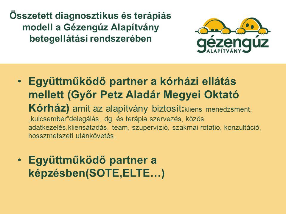 """Összetett diagnosztikus és terápiás modell a Gézengúz Alapítvány betegellátási rendszerében Együttműködő partner a kórházi ellátás mellett (Győr Petz Aladár Megyei Oktató Kórház) amit az alapítvány biztosít: kliens menedzsment, """"kulcsember delegálás, dg."""
