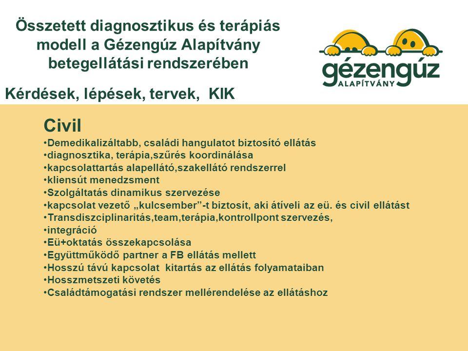 """Összetett diagnosztikus és terápiás modell a Gézengúz Alapítvány betegellátási rendszerében Civil Demedikalizáltabb, családi hangulatot biztosító ellátás diagnosztika, terápia,szűrés koordinálása kapcsolattartás alapellátó,szakellátó rendszerrel kliensút menedzsment Szolgáltatás dinamikus szervezése kapcsolat vezető """"kulcsember -t biztosít, aki átíveli az eü."""