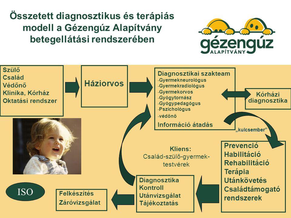 """Összetett diagnosztikus és terápiás modell a Gézengúz Alapítvány betegellátási rendszerében Szülő Család Védőnő Klinika, Kórház Oktatási rendszer Háziorvos Diagnosztikai szakteam -Gyermekneurológus -Gyermekradiológus -Gyermekorvos -Gyógytornász -Gyógypedagógus -Pszichológus -védőnő Információ átadás Prevenció Habilitáció Rehabilitáció Terápia Utánkövetés Családtámogató rendszerek Diagnosztika Kontroll Utánvizsgálat Tájékoztatás Felkészítés Záróvizsgálat Kliens: Család-szülő-gyermek- testvérek Kórházi diagnosztika ISO """"kulcsember"""