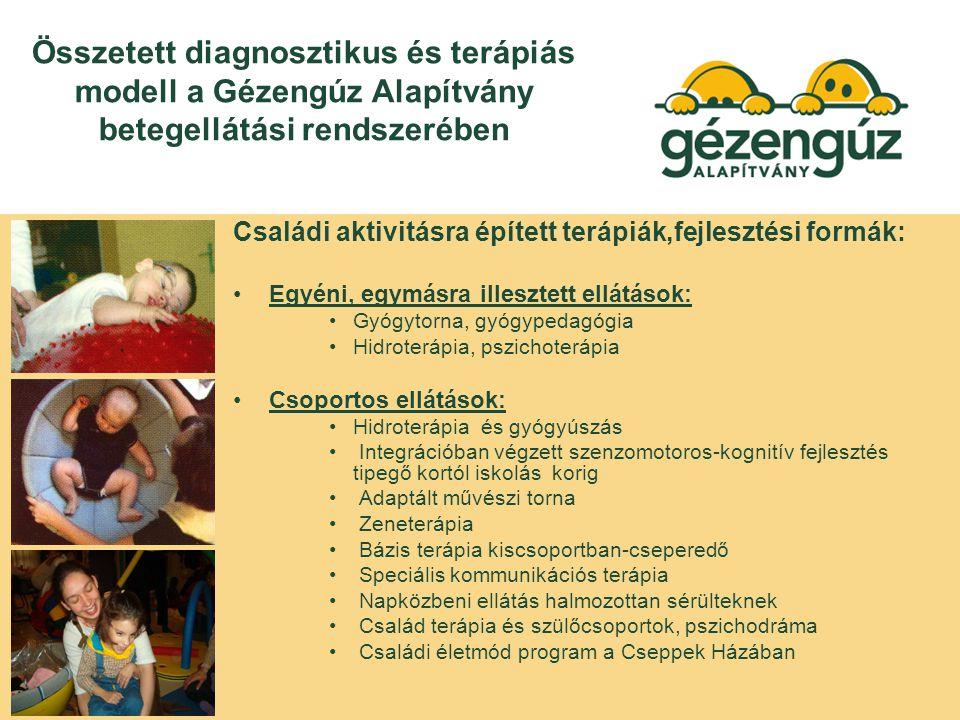 Összetett diagnosztikus és terápiás modell a Gézengúz Alapítvány betegellátási rendszerében Családi aktivitásra épített terápiák,fejlesztési formák: Egyéni, egymásra illesztett ellátások: Gyógytorna, gyógypedagógia Hidroterápia, pszichoterápia Csoportos ellátások: Hidroterápia és gyógyúszás Integrációban végzett szenzomotoros-kognitív fejlesztés tipegő kortól iskolás korig Adaptált művészi torna Zeneterápia Bázis terápia kiscsoportban-cseperedő Speciális kommunikációs terápia Napközbeni ellátás halmozottan sérülteknek Család terápia és szülőcsoportok, pszichodráma Családi életmód program a Cseppek Házában