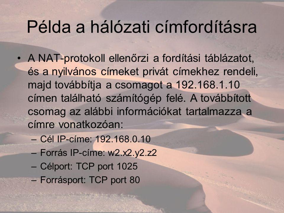 Példa a hálózati címfordításra A NAT-protokoll ellenőrzi a fordítási táblázatot, és a nyilvános címeket privát címekhez rendeli, majd továbbítja a csomagot a 192.168.1.10 címen található számítógép felé.