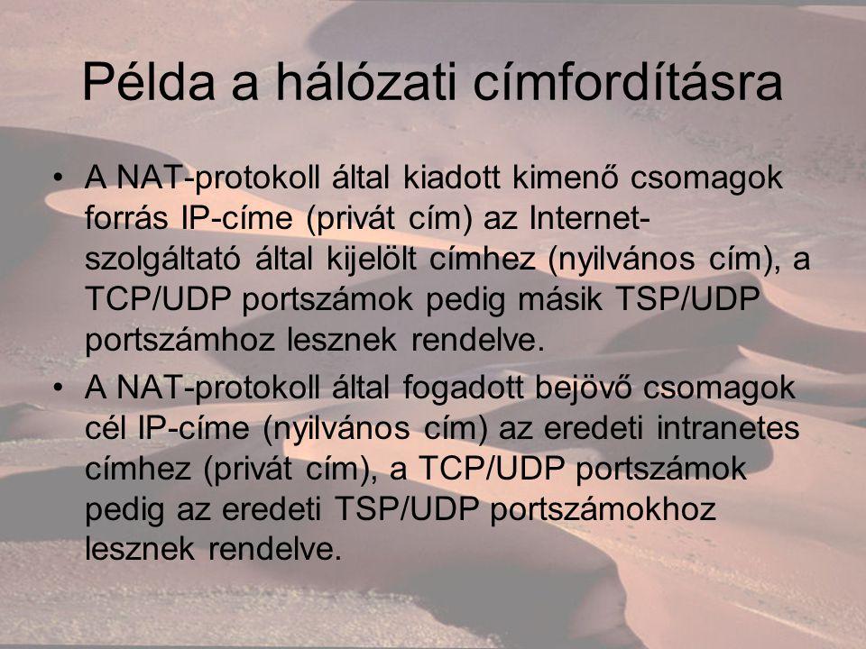 Példa a hálózati címfordításra A NAT-protokoll által kiadott kimenő csomagok forrás IP-címe (privát cím) az Internet- szolgáltató által kijelölt címhez (nyilvános cím), a TCP/UDP portszámok pedig másik TSP/UDP portszámhoz lesznek rendelve.