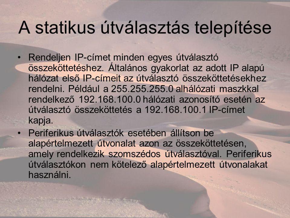 A statikus útválasztás telepítése Rendeljen IP-címet minden egyes útválasztó összeköttetéshez.