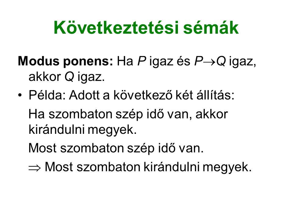 Következtetési sémák Modus ponens: Ha P igaz és P  Q igaz, akkor Q igaz.