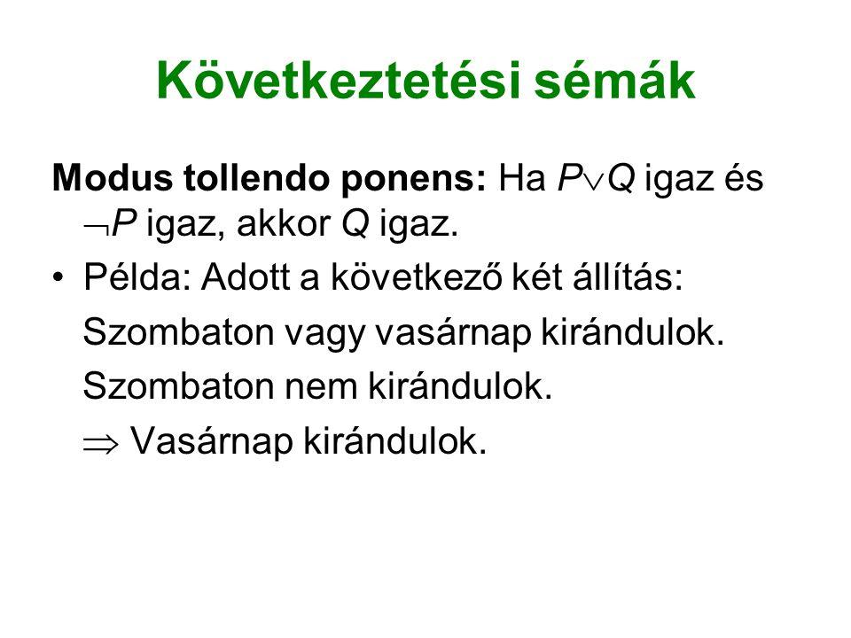 Következtetési sémák Modus tollendo ponens: Ha P  Q igaz és  P igaz, akkor Q igaz.