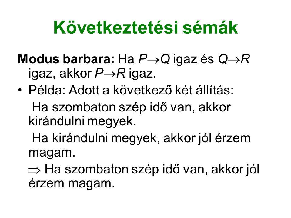 Következtetési sémák Modus barbara: Ha P  Q igaz és Q  R igaz, akkor P  R igaz.