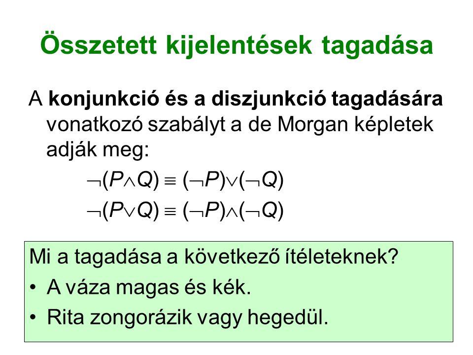 Összetett kijelentések tagadása A konjunkció és a diszjunkció tagadására vonatkozó szabályt a de Morgan képletek adják meg:  (P  Q)  (  P)  (  Q)  (P  Q)  (  P)  (  Q) Mi a tagadása a következő ítéleteknek.