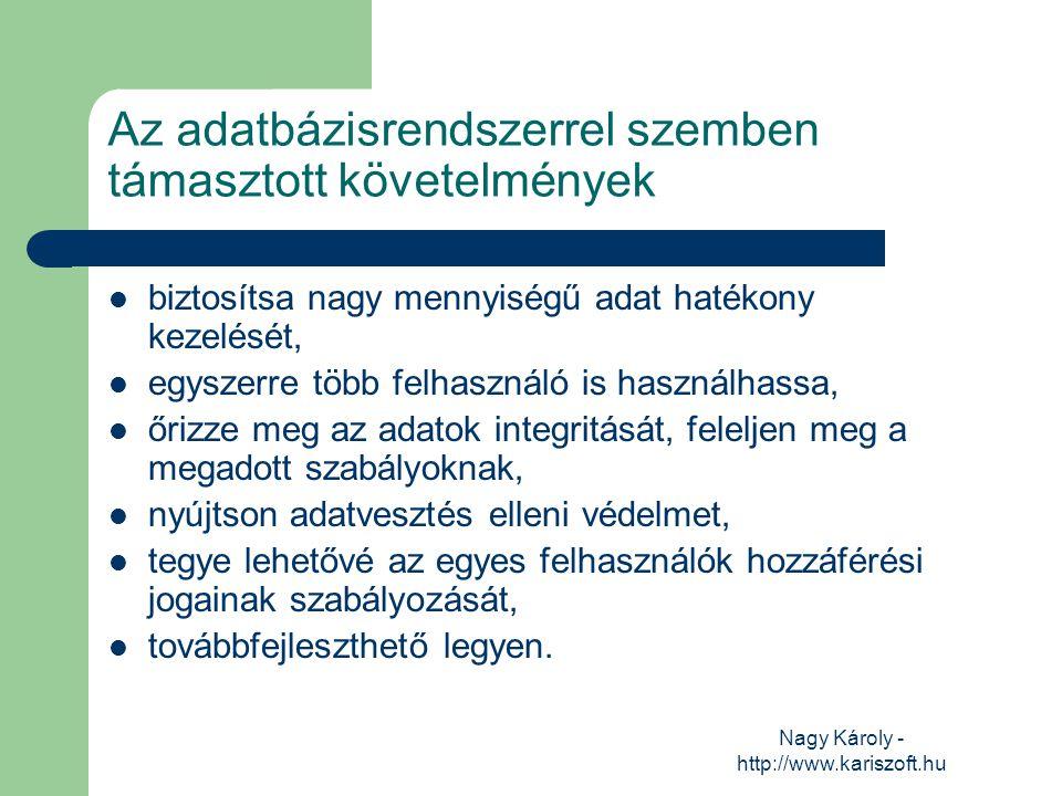 Nagy Károly - http://www.kariszoft.hu Az adatbázisrendszerrel szemben támasztott követelmények biztosítsa nagy mennyiségű adat hatékony kezelését, egy