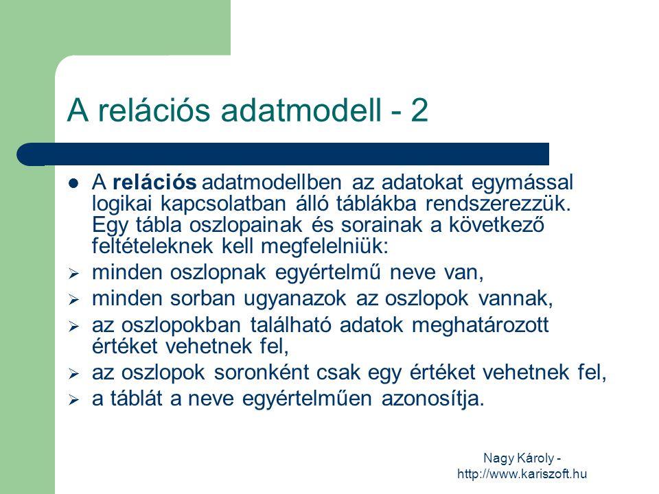 Nagy Károly - http://www.kariszoft.hu A relációs adatmodell - 2 A relációs adatmodellben az adatokat egymással logikai kapcsolatban álló táblákba rend