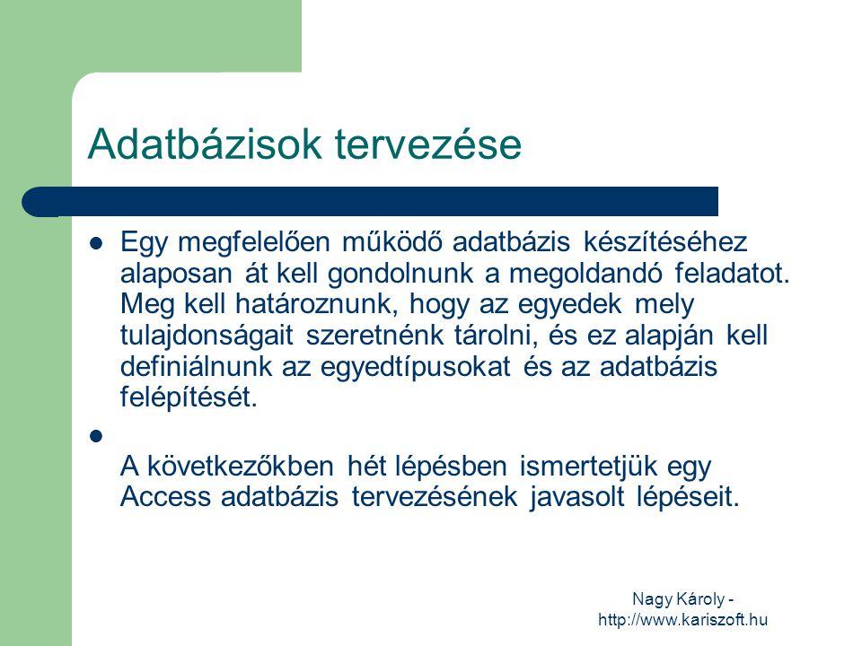 Nagy Károly - http://www.kariszoft.hu Adatbázisok tervezése Egy megfelelően működő adatbázis készítéséhez alaposan át kell gondolnunk a megoldandó fel