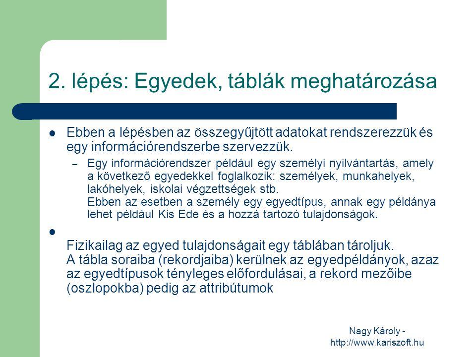 Nagy Károly - http://www.kariszoft.hu 2. lépés: Egyedek, táblák meghatározása Ebben a lépésben az összegyűjtött adatokat rendszerezzük és egy informác