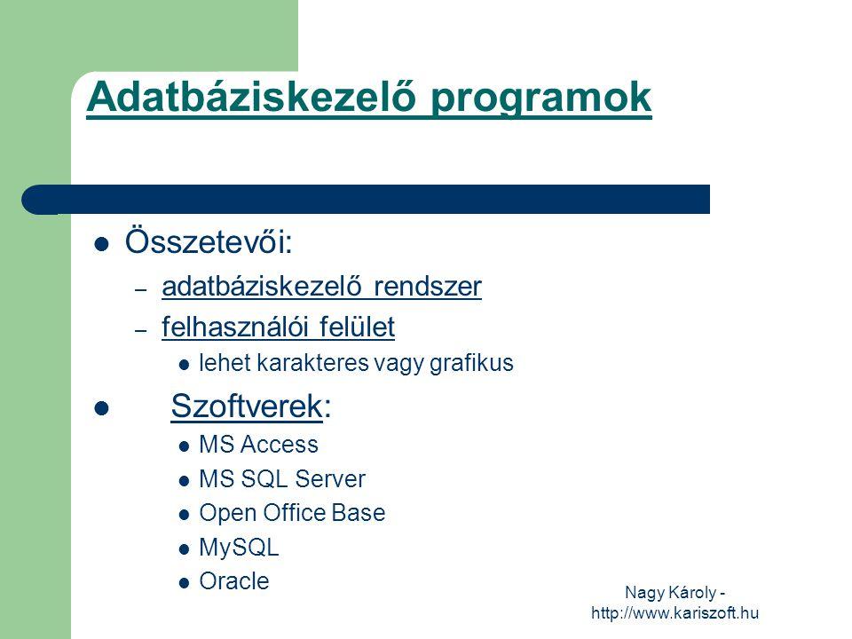 Nagy Károly - http://www.kariszoft.hu Az adatbázis fogalma Az adatbázis tágabb értelemben egy olyan adathalmaz, amelynek elemei – egy meghatározott tulajdonságuk alapján – összetartozónak tekinthetők.