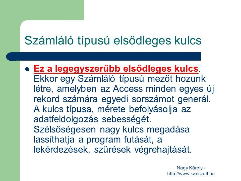 Nagy Károly - http://www.kariszoft.hu Számláló típusú elsődleges kulcs Ez a legegyszerűbb elsődleges kulcs. Ekkor egy Számláló típusú mezőt hozunk lét