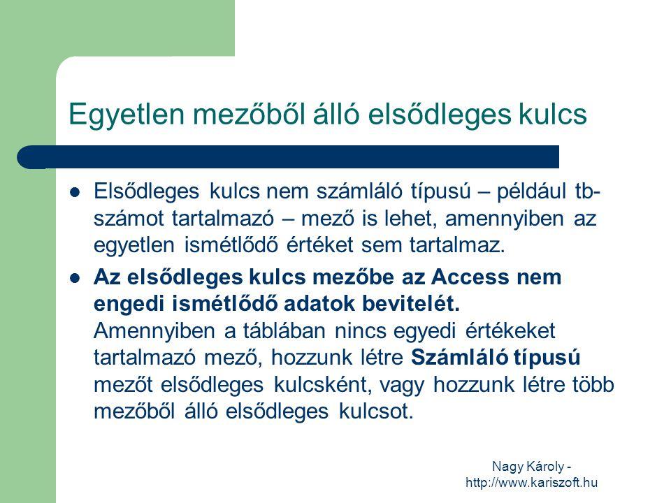 Nagy Károly - http://www.kariszoft.hu Egyetlen mezőből álló elsődleges kulcs Elsődleges kulcs nem számláló típusú – például tb- számot tartalmazó – me