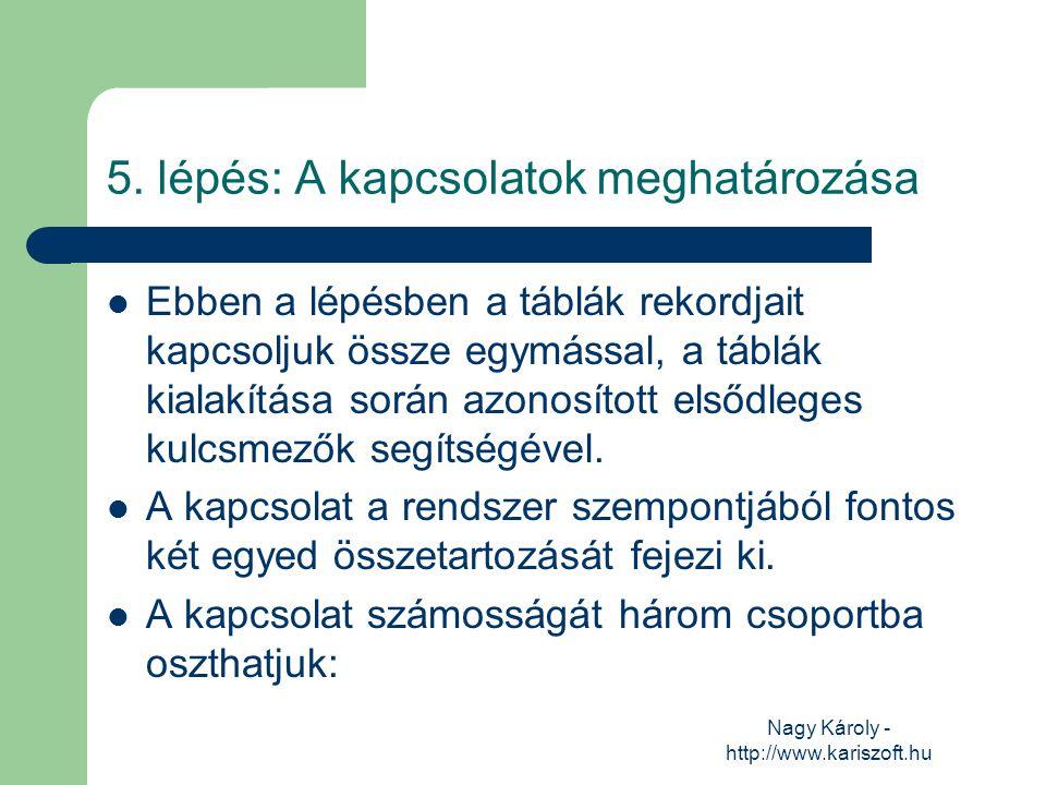 Nagy Károly - http://www.kariszoft.hu 5. lépés: A kapcsolatok meghatározása Ebben a lépésben a táblák rekordjait kapcsoljuk össze egymással, a táblák