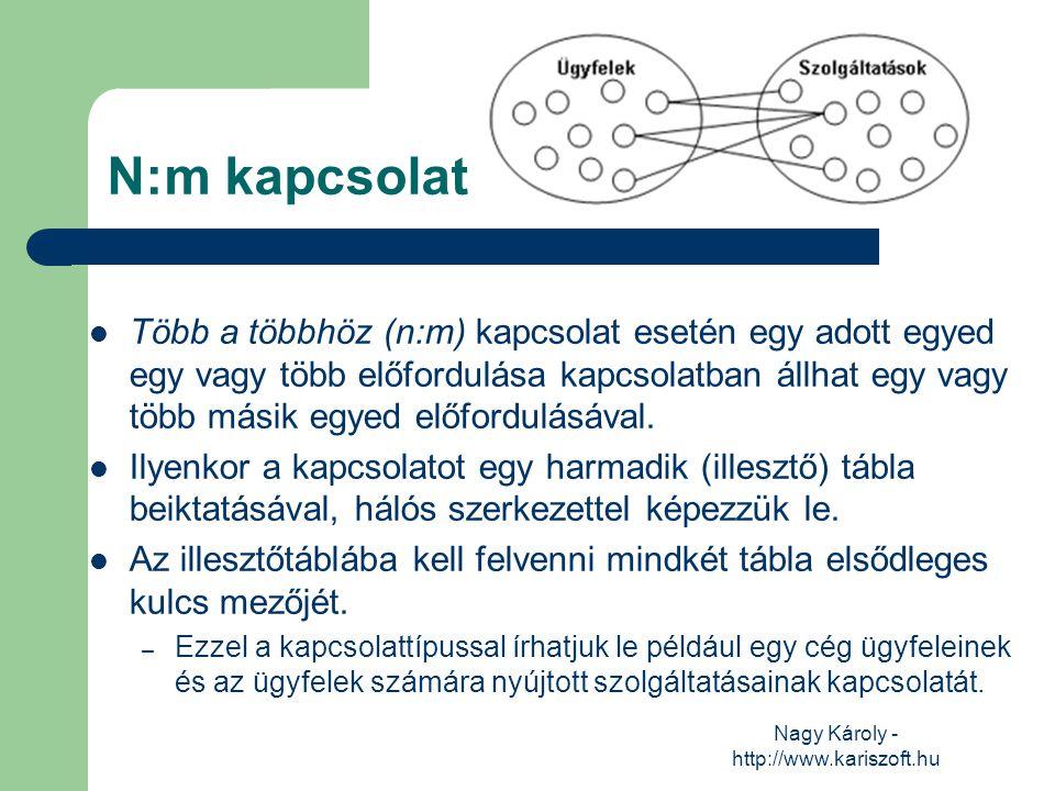 Nagy Károly - http://www.kariszoft.hu N:m kapcsolat Több a többhöz (n:m) kapcsolat esetén egy adott egyed egy vagy több előfordulása kapcsolatban állh
