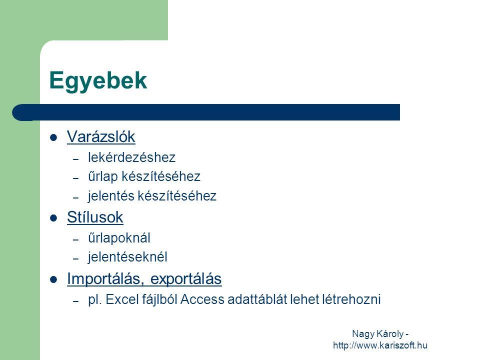 Nagy Károly - http://www.kariszoft.hu Egyebek Varázslók – lekérdezéshez – űrlap készítéséhez – jelentés készítéséhez Stílusok – űrlapoknál – jelentése