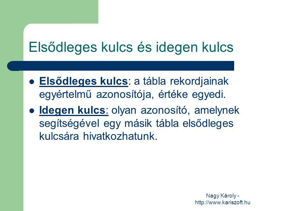 Nagy Károly - http://www.kariszoft.hu Elsődleges kulcs és idegen kulcs Elsődleges kulcs: a tábla rekordjainak egyértelmű azonosítója, értéke egyedi. I