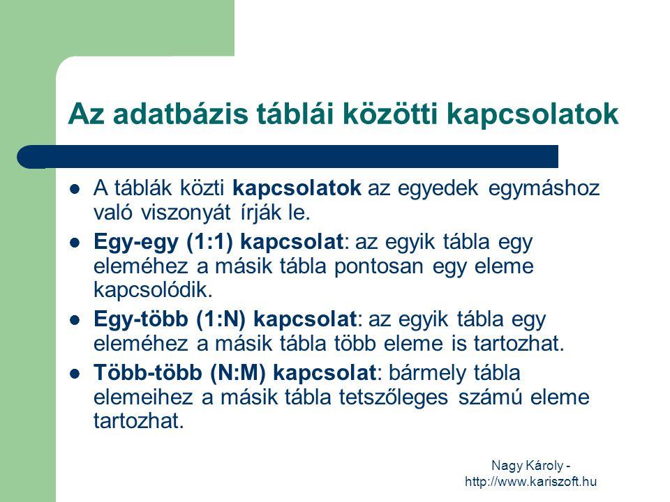 Nagy Károly - http://www.kariszoft.hu Anomáliák (ellentmondások) Nem megfelelően felépített adatbázis esetén: Bővítési anomália: ha egy rekord felvételekor a már korábban tárolásra került információkat is újra be kell vinni.