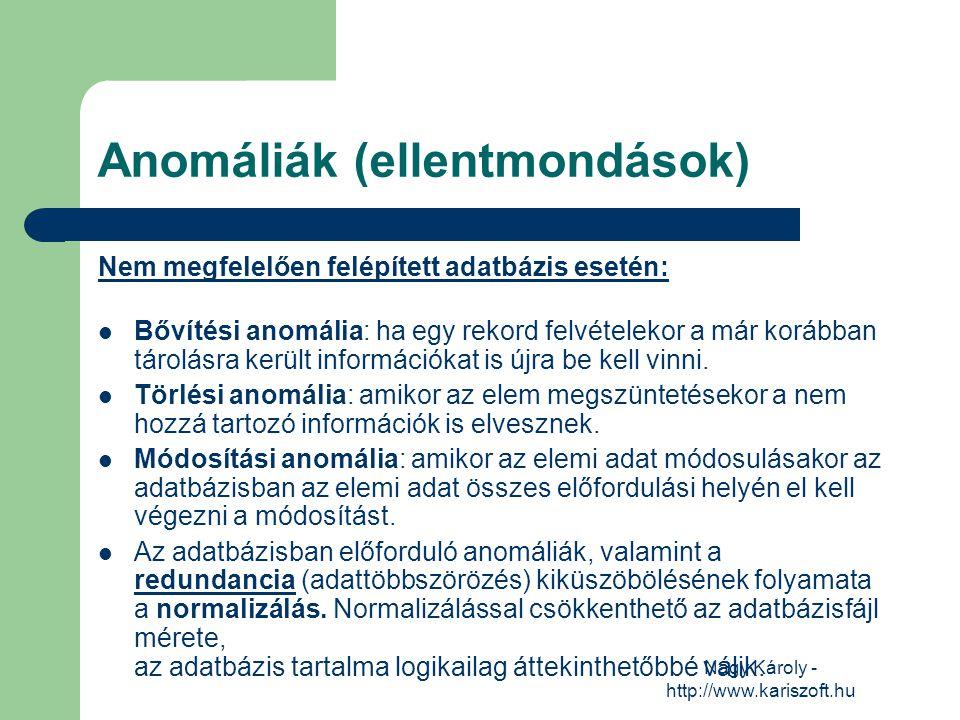 Nagy Károly - http://www.kariszoft.hu Anomáliák (ellentmondások) Nem megfelelően felépített adatbázis esetén: Bővítési anomália: ha egy rekord felvéte