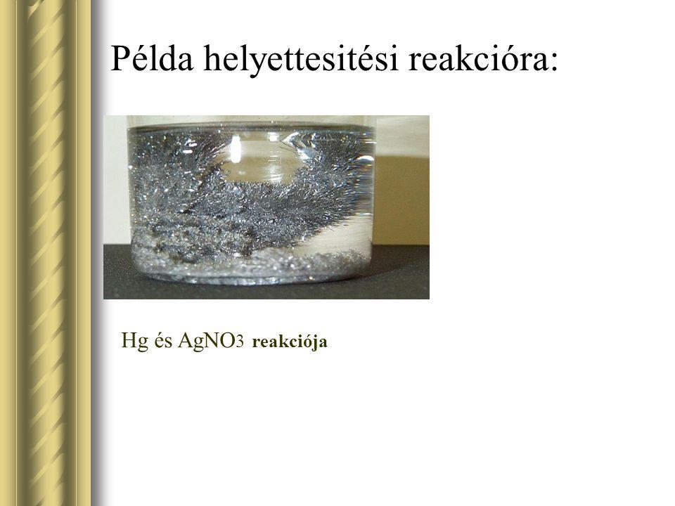 Példa helyettesitési reakcióra: Hg és AgNO 3 reakciója