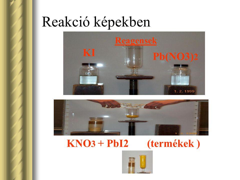 Reakció képekben KI Pb(NO3) 2 Reagensek KNO 3 + PbI2 (termékek )