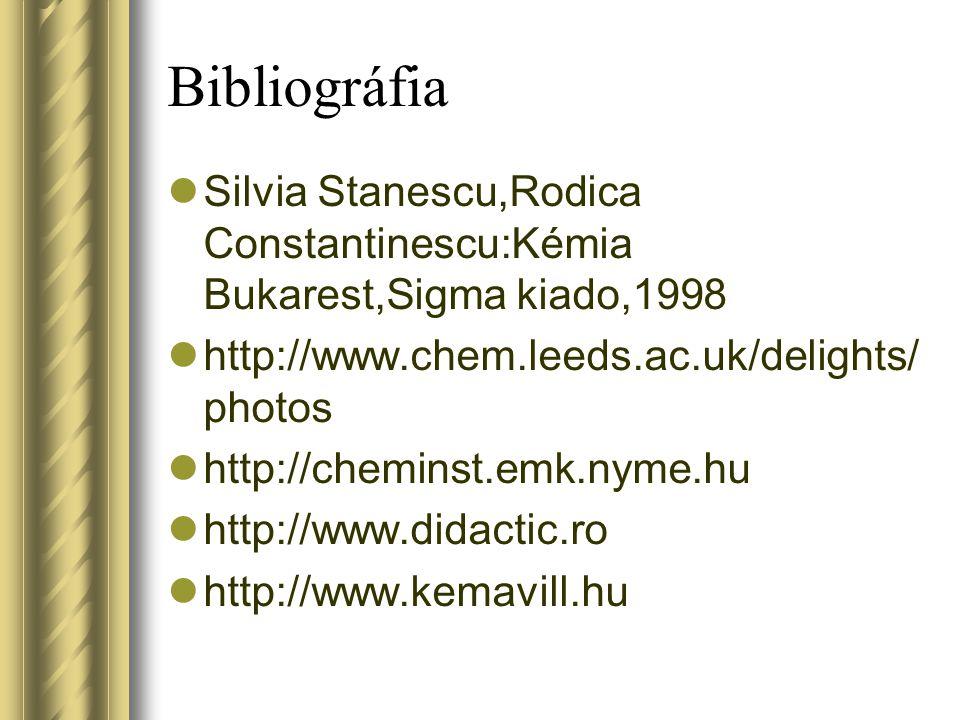 Bibliográfia Silvia Stanescu,Rodica Constantinescu:Kémia Bukarest,Sigma kiado,1998 http://www.chem.leeds.ac.uk/delights/ photos http://cheminst.emk.ny