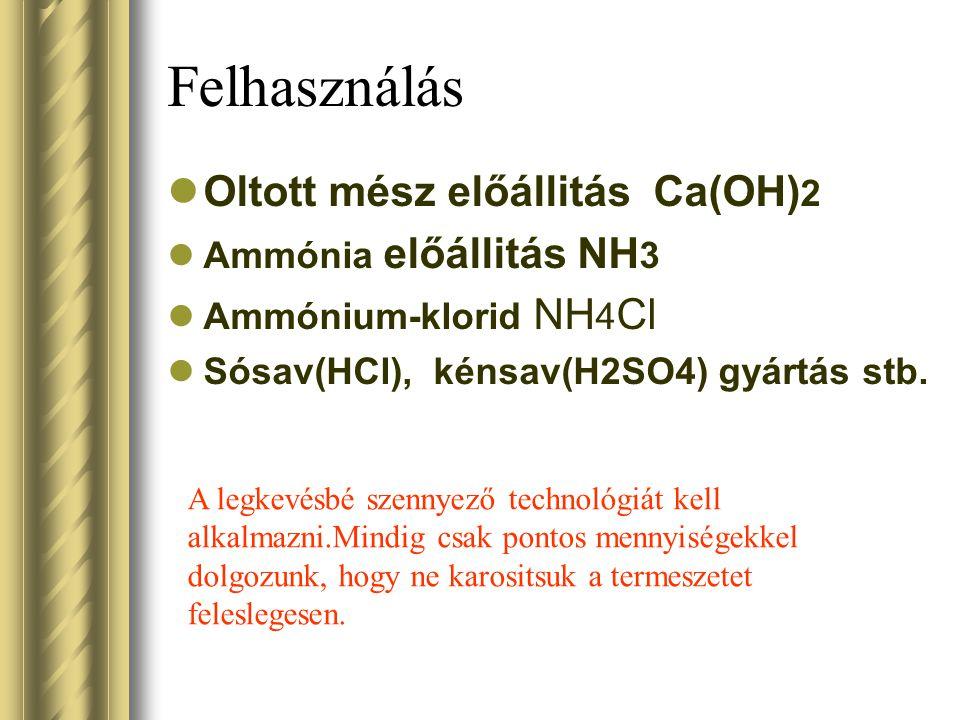 Felhasználás Oltott mész előállitás Ca(OH) 2 Ammónia előállitás NH 3 Ammónium-klorid NH 4 Cl Sósav(HCl), kénsav(H2SO4) gyártás stb. A legkevésbé szenn