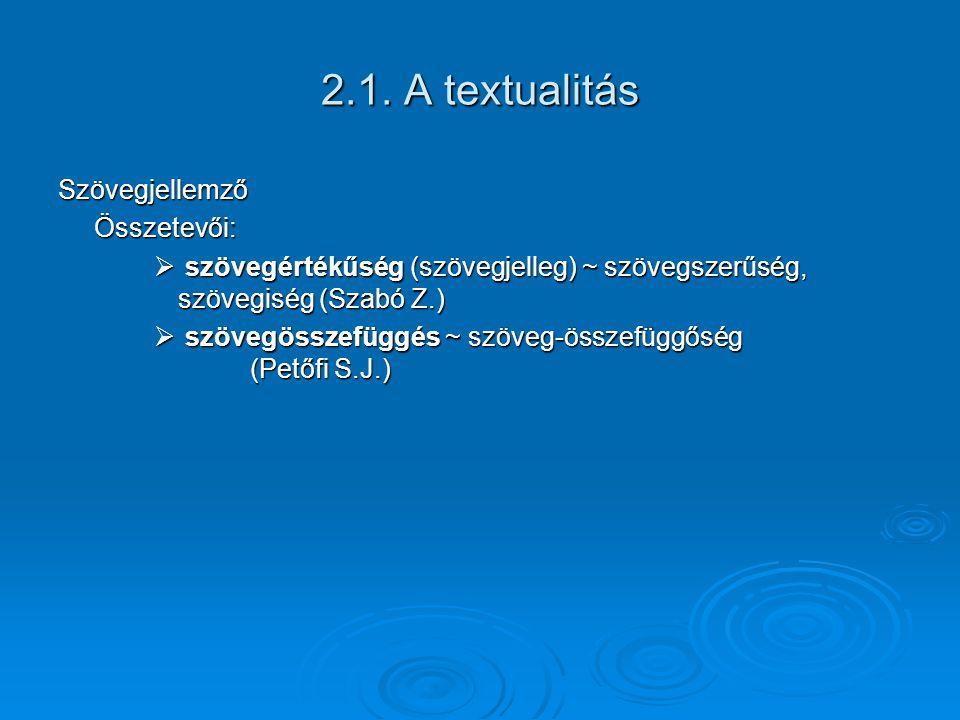 2.1. A textualitás SzövegjellemzőÖsszetevői:  szövegértékűség (szövegjelleg) ~ szövegszerűség, szövegiség (Szabó Z.)  szövegösszefüggés ~ szöveg-öss